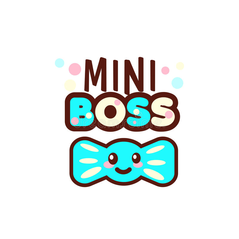 The vector illustration of blue ribbon and the mini boss text with stylish kawaii emoji. Vector style boys gift stock illustration