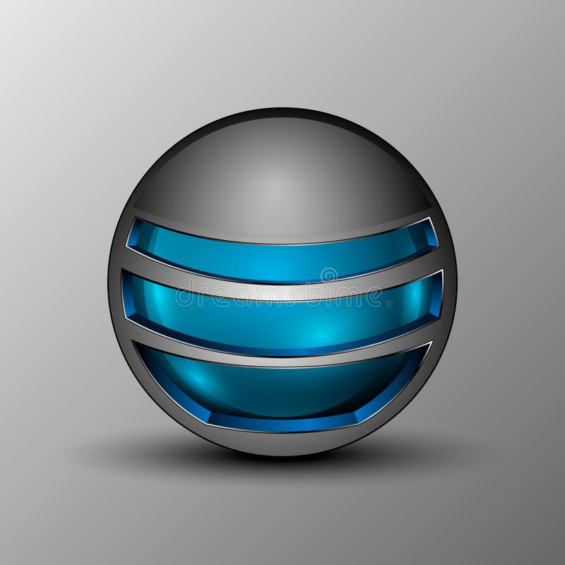 Vector illustration of blue sphere as emblem. stock images