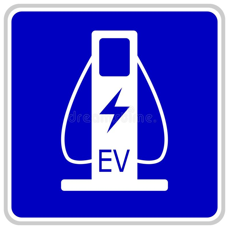 Vector illustration of a blue traffic sign showing two cables for charging electric cars vector illustration