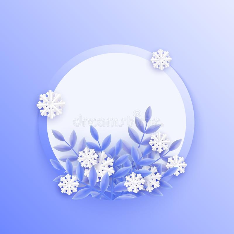 Vector illustration of blue winter natural banner with blue plant leaves and white falling snowflakes. Vector illustration of blue winter natural banner with vector illustration