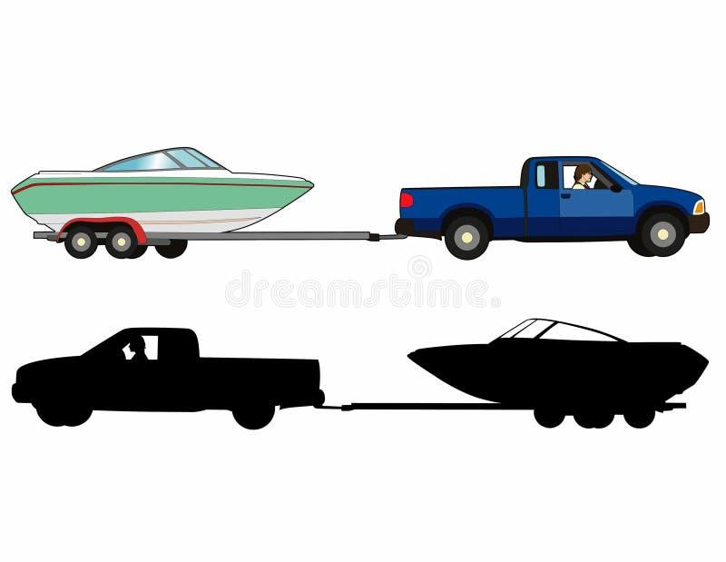 Boat trailer. Vector illustration of a boat transport, file EPS 10 vector illustration