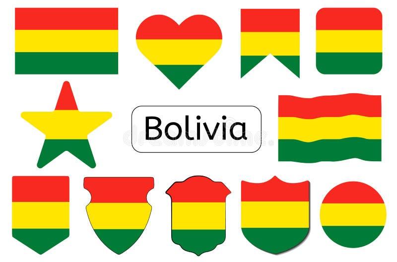 Bolivian flag icon, Bolivia country flag vector illustration royalty free illustration