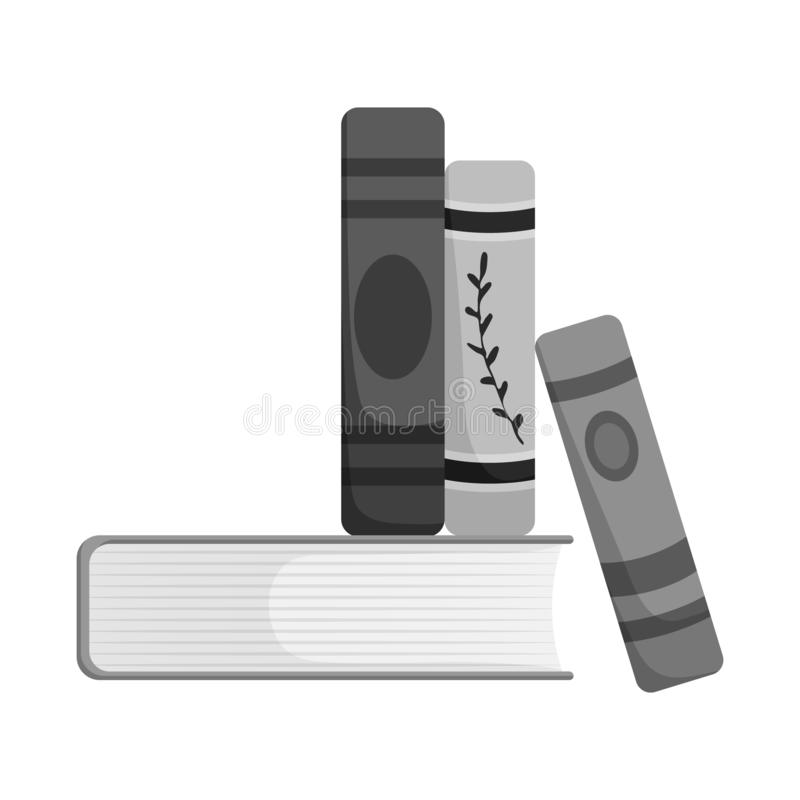 Vector illustration of book and stack icon. Collection of book and writing vector icon for stock. Isolated object of book and stack symbol. Set of book and royalty free illustration