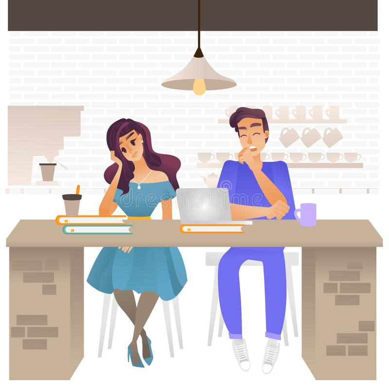 Vector illustration of bored people - young tired and exhausted man and woman sitting at cafe with books and laptop. stock illustration