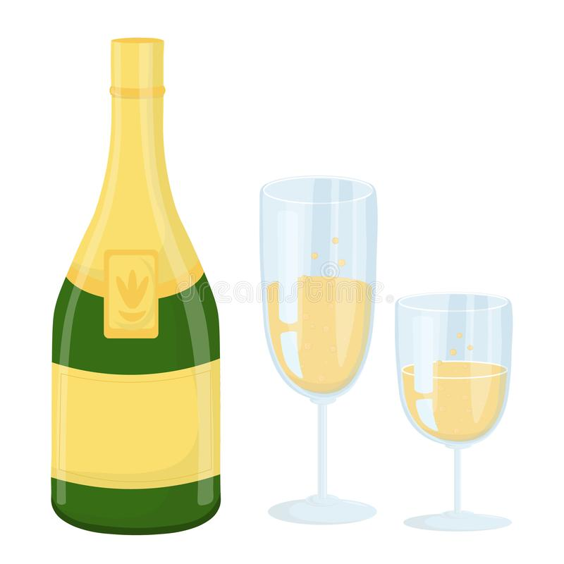 Vector illustration of a bottle and two glasses of champagne isolated on white background-vector vector illustration