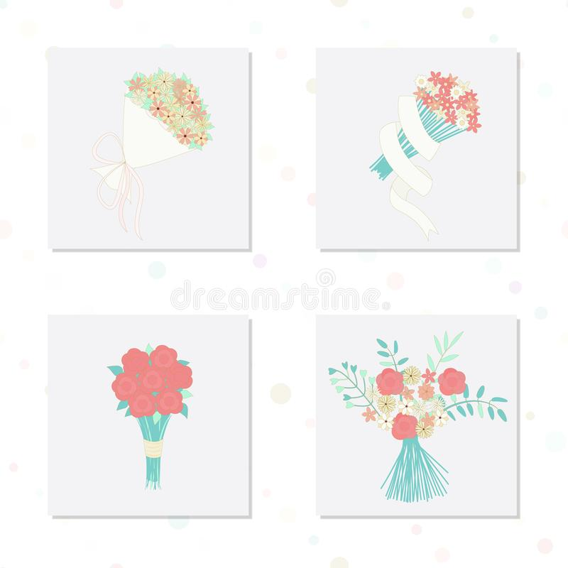 Vector illustration with bouquets of flowers in pink, blue and gold color hues in modern line style. royalty free illustration