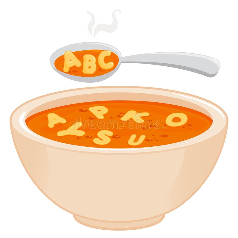 Bowl of alphabet pasta soup and spoon. Vector illustration. stock illustration