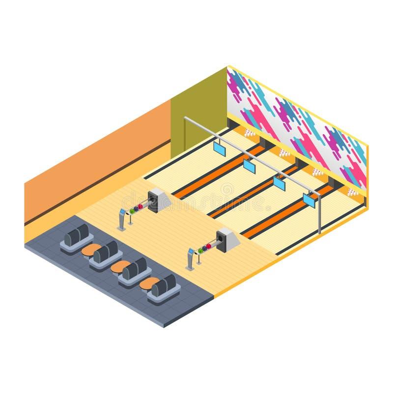 Bowling Alley Isometric Illustration stock illustration