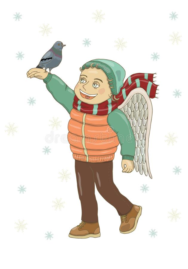 Vector illustration of a boy with angel wings, in winter clothes, holding a pigeon and smiling. In boots, vest, hat, scarf, trouse stock illustration