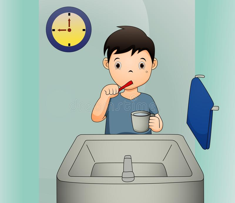 A vector illustration of a boy brushing his teeth stock illustration