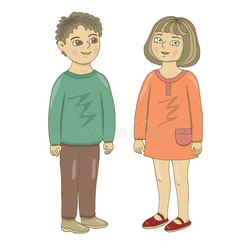 Vector illustration of a boy and a girl. Hand drawing. Brother and sister. Friends. Color, isolated, full-length, in a good mood, vector illustration