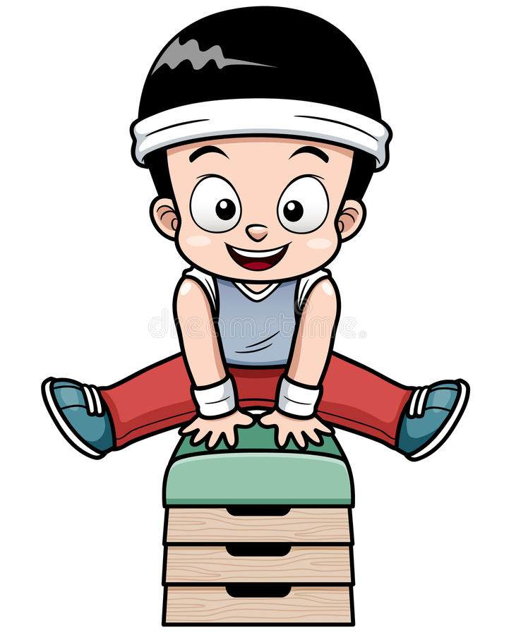 A Boy jumping gymnastic buck stock illustration