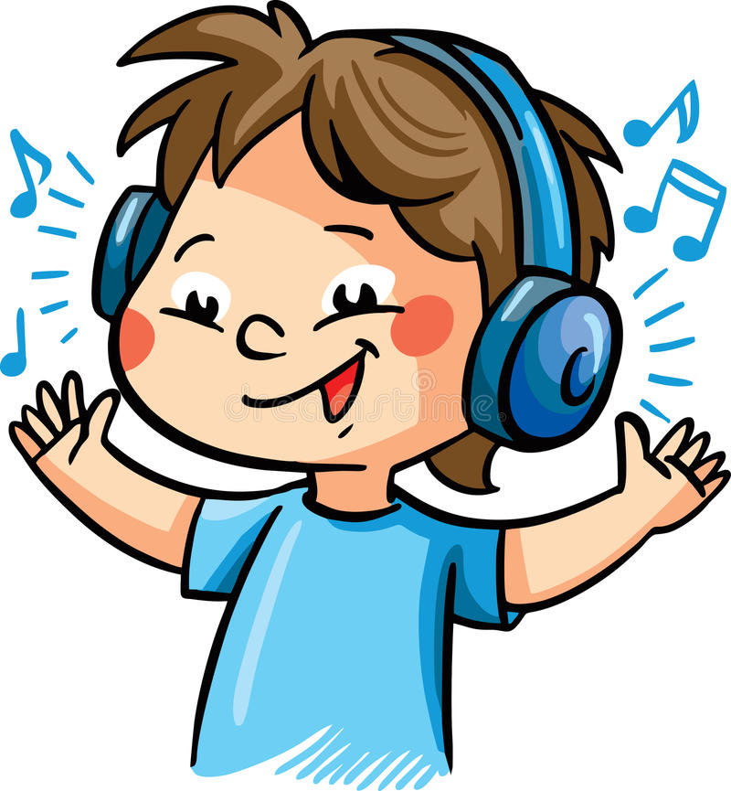 vector illustration with a boy listening music stock vector rh dreamstime com person listening to music clipart child listening to music clipart