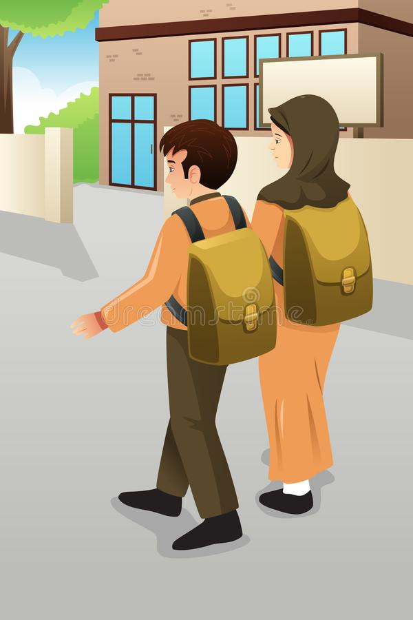 Boy and Muslim Girl Students Walking to School vector illustration