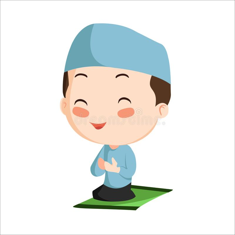Vector - boy muslim kid. Vector illustration of boy muslim kid. Little boy praying and wearing blue cap vector illustration