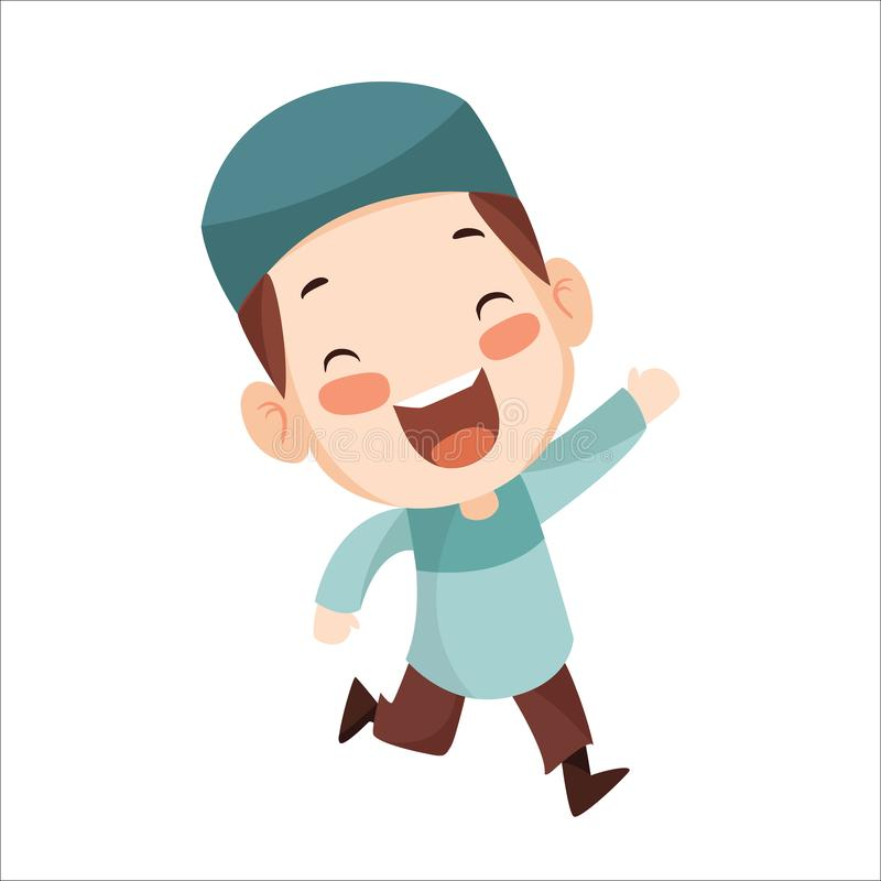 Vector - happy muslim boy. Vector illustration of boy muslim kid. Little boy wearing blue cap and blue koko shirt royalty free illustration