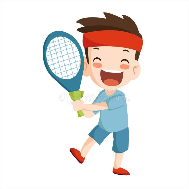 Vector - boy play tennis sport vector illustration