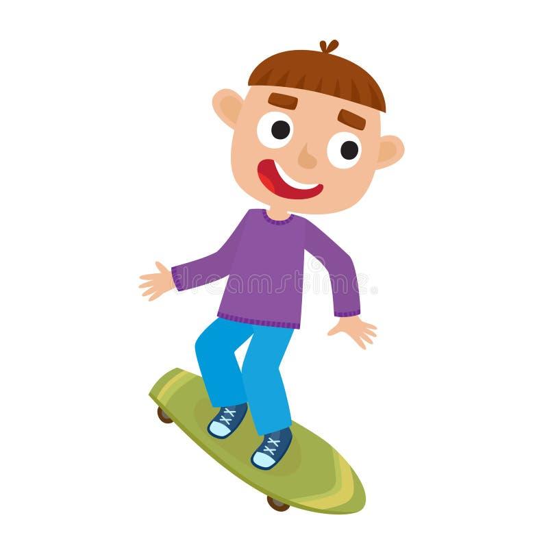 Vector illustration of boy on skateboard in isolated on white vector illustration