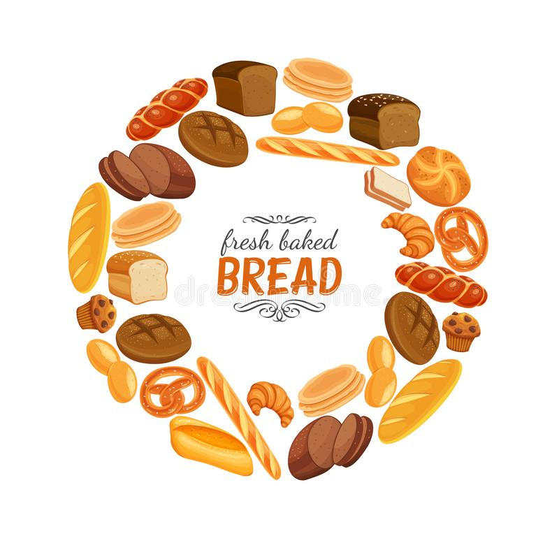 Bread products round frame poster. Vector illustration bread products round frame poster. Rye bread and pretzel, muffin, pita, ciabatta and croissant, wheat and vector illustration