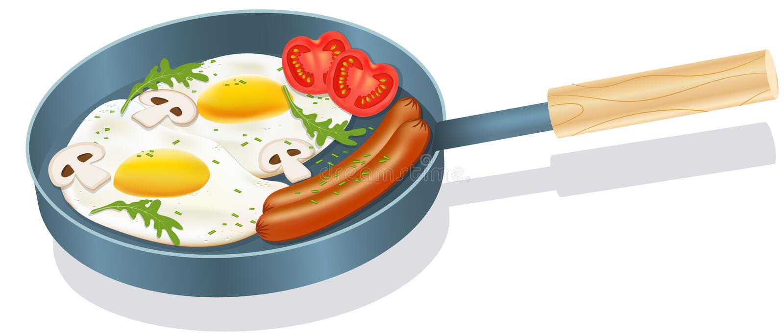 Vector drawing. Breakfast concept. Delicious breakfast sausages with eggs and vegetables stock illustration