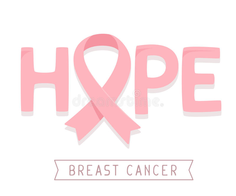 Vector illustration for breast cancer awareness month with pink. Ribbon, cancer awareness symbol and word hope on white background. Flat style design for poster vector illustration