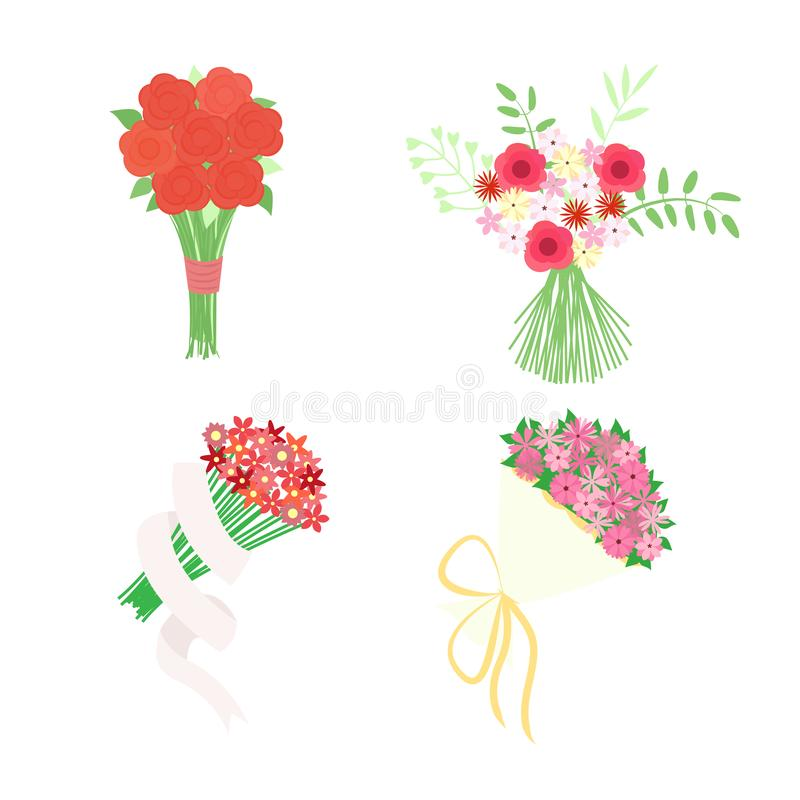 Vector illustration with bright bouquets of flowers. Set of isolated symbols, logotypes or badges, icons and signs. vector illustration