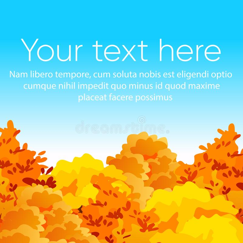 Vector illustration of bright and colorful autumn yellow and red trees on blue sky background with place for text. Flat vector illustration