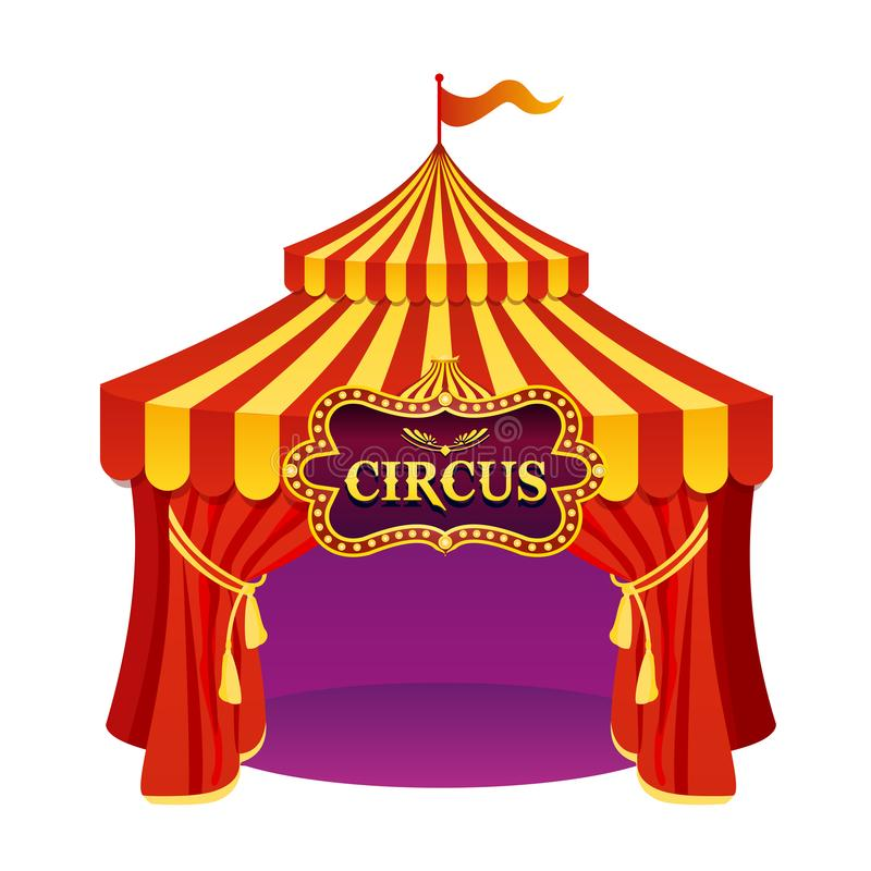 Vector illustration of bright colors circus tent with beautiful emblem isolated on white background. vector illustration