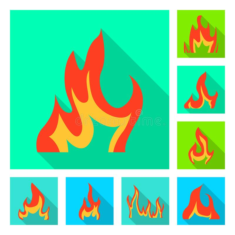 Vector design of bright and dangerous icon. Collection of bright and wildfire vector icon for stock. Vector illustration of bright and dangerous symbol. Set of stock illustration