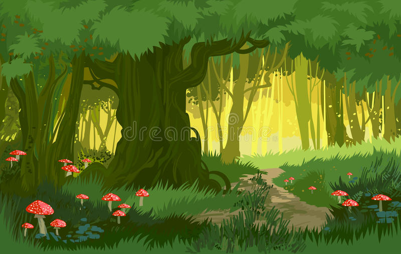 Vector illustration bright green summer magical forest vector background mushrooms. Vector illustration bright green summer forest vector background jungle with