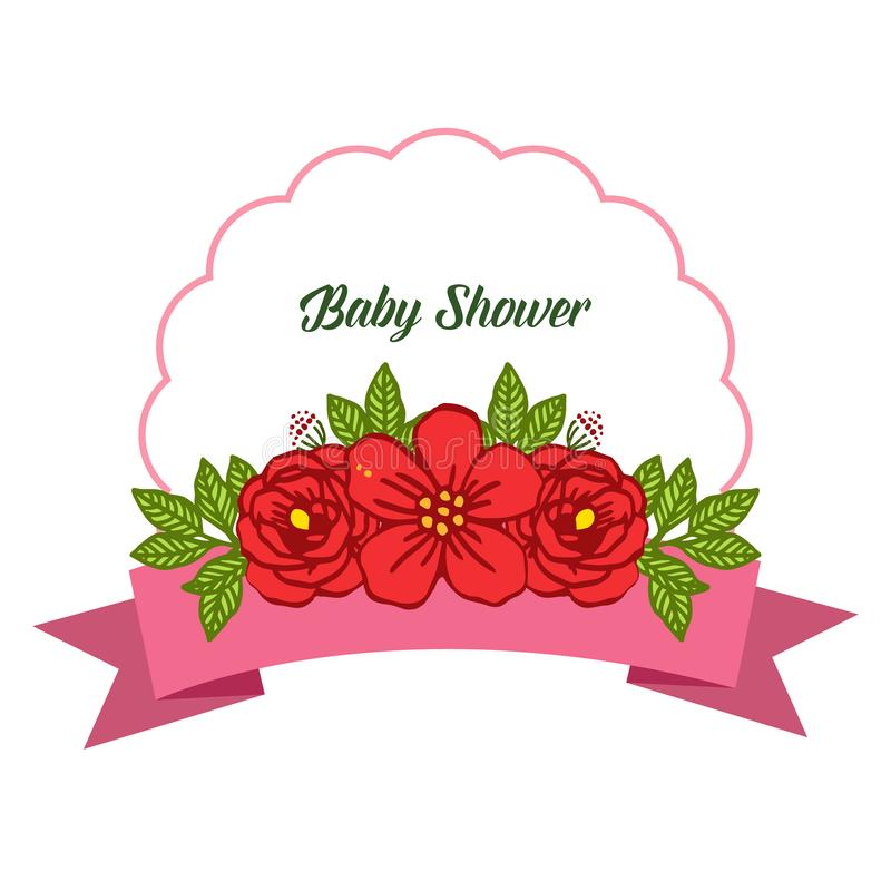 Vector illustration bright red rose flower frame for writing baby shower stock image