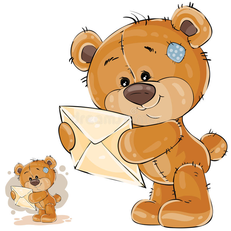 Download Vector Illustration Of A Brown Teddy Bear Holding In Its Paws Received Letter Stock Vector - Illustration: 92631763