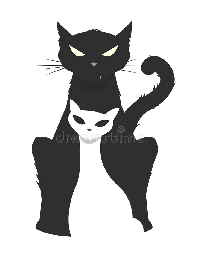 Vector illustration of a brutal male cat protecting his fragile. Female cat, protection concept