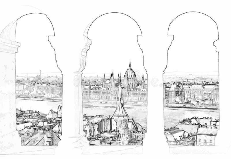 Vector illustration of Budapest and hungarian parliament. Vector illustration, in sketch style, of Budapest and hungarian parliament gothic building through the vector illustration