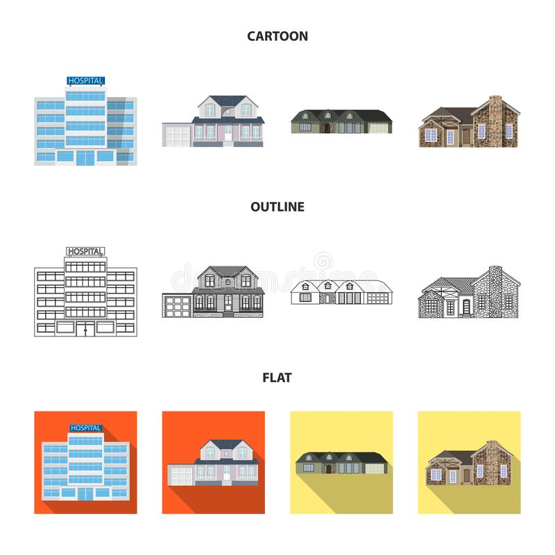 Vector illustration of building and front icon. Collection of building and roof stock vector illustration. Isolated object of building and front symbol. Set of vector illustration