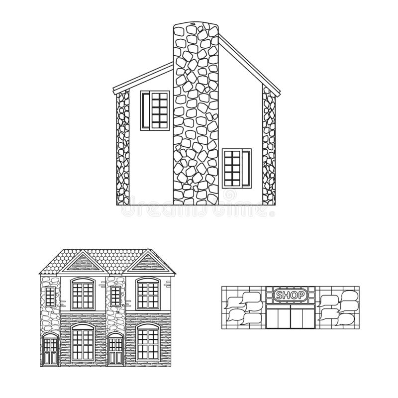 Vector illustration of building and front icon. Collection of building and roof stock vector illustration. Isolated object of building and front symbol. Set of stock illustration
