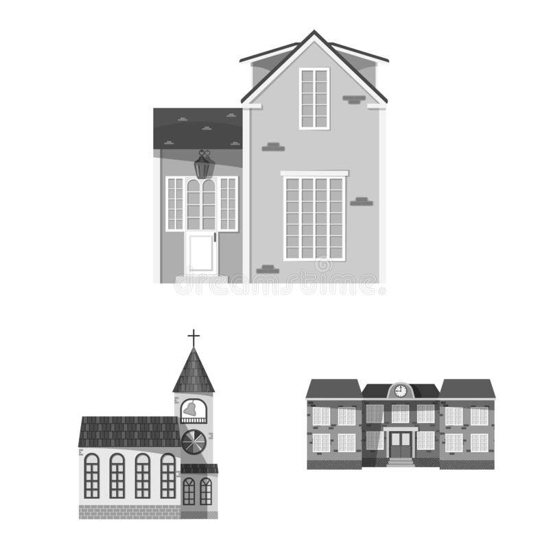 Vector design of building and front icon. Collection of building and roof stock vector illustration. Vector illustration of building and front symbol. Set of stock illustration