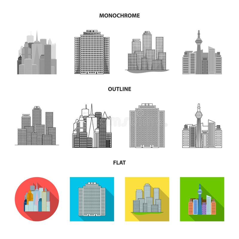 Vector design of  and building symbol. Set of  and hotel vector icon for stock. Vector illustration of  and building sign. Collection of  and hotel stock symbol royalty free illustration