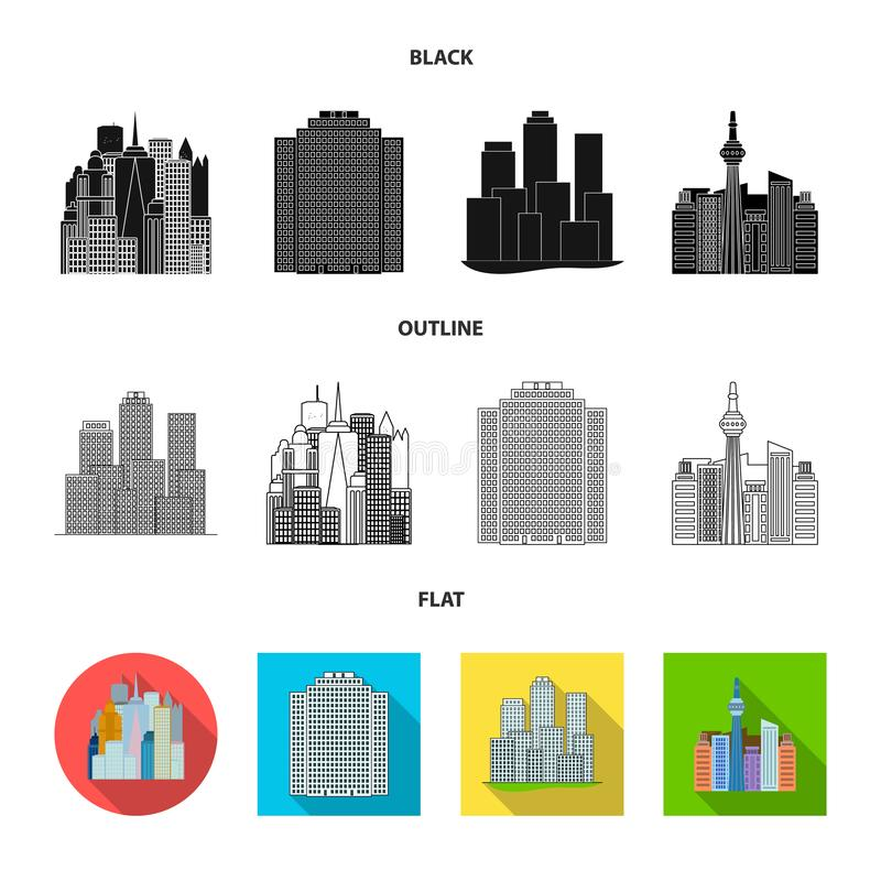 Vector illustration of  and building sign. Set of  and hotel vector icon for stock. Isolated object of  and building logo. Collection of  and hotel stock symbol stock illustration