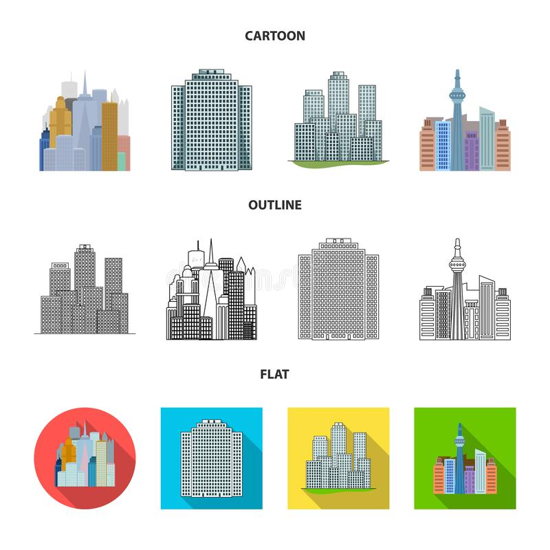 Vector illustration of  and building symbol. Set of  and hotel stock vector illustration. Isolated object of  and building sign. Collection of  and hotel vector royalty free illustration