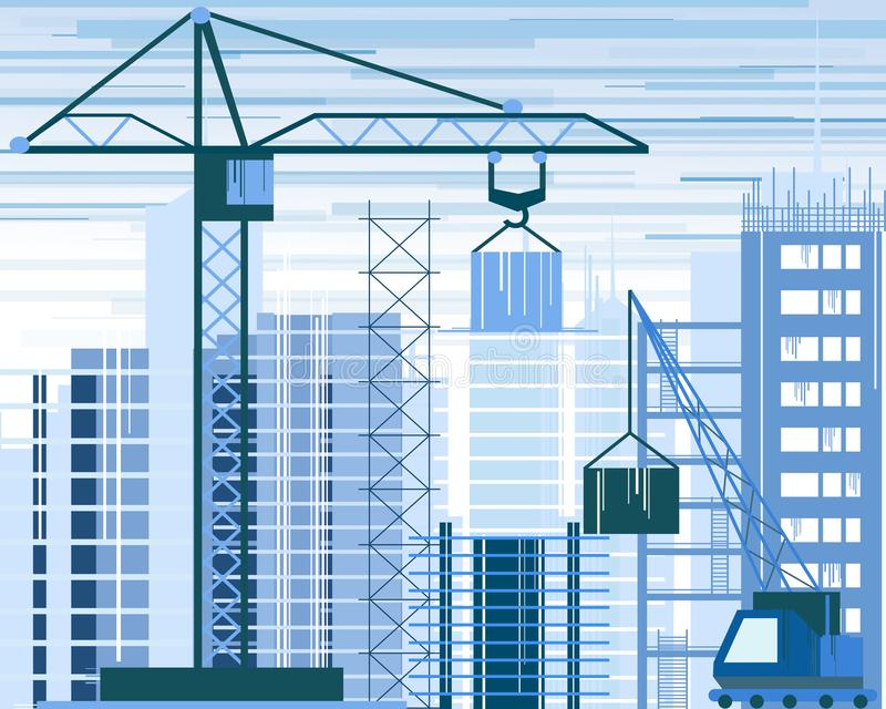 Vector illustration of buildings constructions site and cranes. skyscraper under construction. excavator, tipper at sky. Background in flat style royalty free illustration