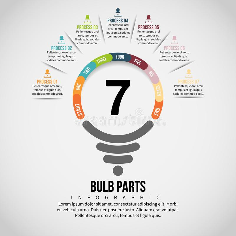 Bulb Part Infographic. Vector illustration of Bulb Part Infographic design element royalty free illustration