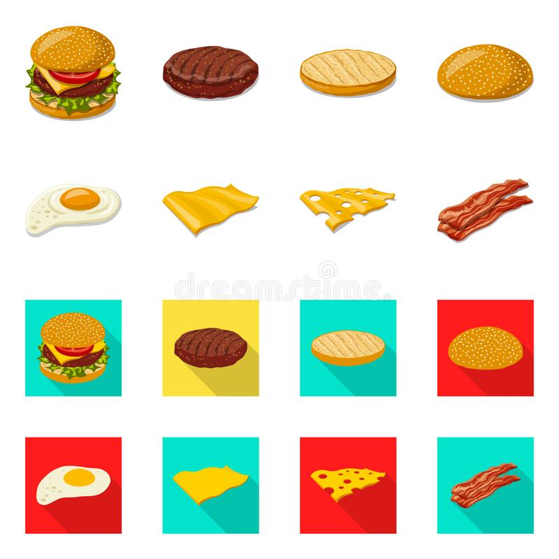 Vector design of burger and sandwich logo. Collection of burger and slice stock vector illustration. Vector illustration of burger and sandwich icon. Set of royalty free illustration