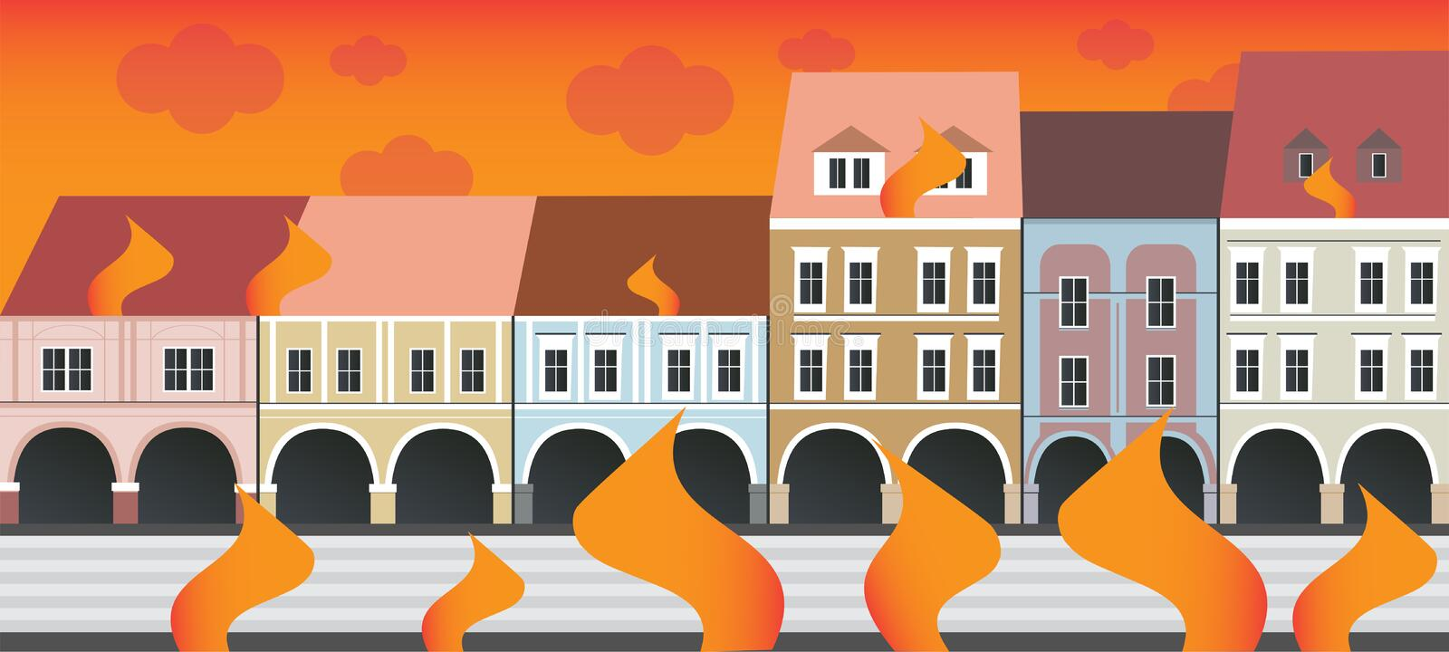 The burning city - fire in city streets royalty free illustration