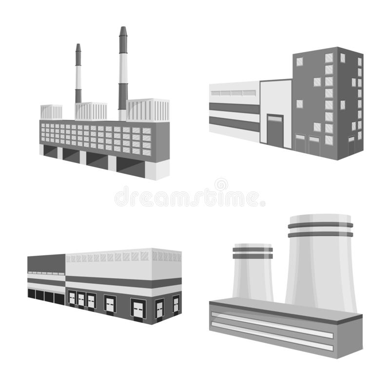 Vector illustration of business and building logo. Collection of business and equipment vector icon for stock. Isolated object of business and building icon stock illustration