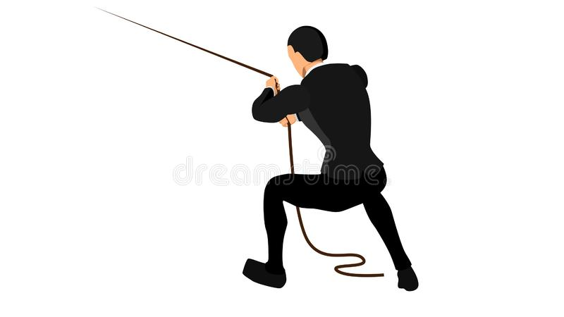 Vector illustration of a business concept from an entrepreneur who tries to pull a rope, with a separate white background. eps 10 royalty free illustration
