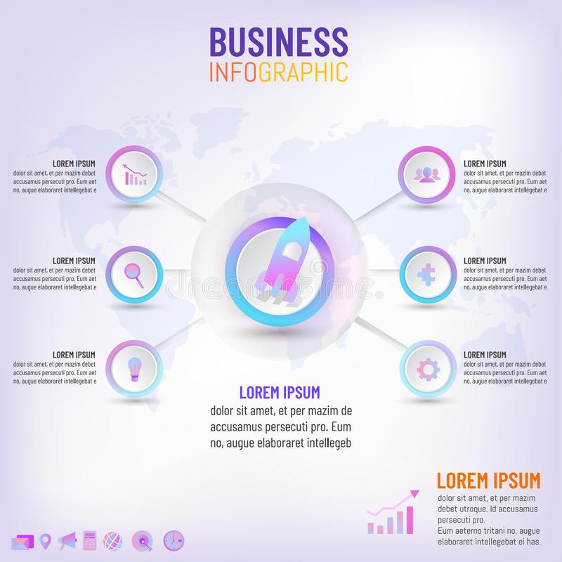 Business creative concept infographic with 6 options, steps, processes. Vector illustration royalty free illustration