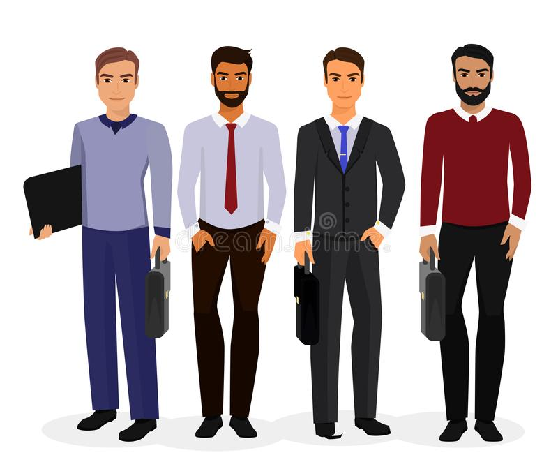 Vector illustration of business men cartoon characters creation set. Young handsome smiling businessman in office style vector illustration