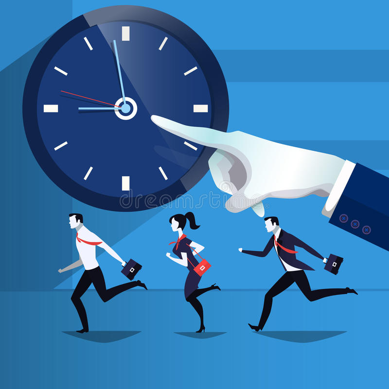 Vector illustration of business people catching up the time royalty free illustration