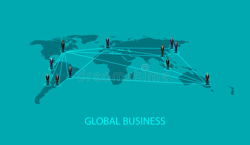 Vector illustration of business people standing on the world global map shape. infographic global business cooperation concept. Vector flat illustration of stock illustration